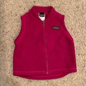 Baby Girl Pink Fleece Patagonia Vest Sz 12 Months